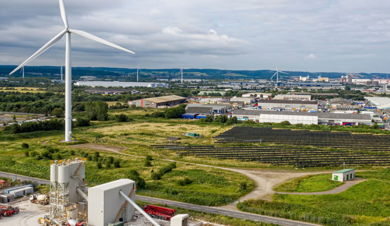 Industrial units and wind turbines