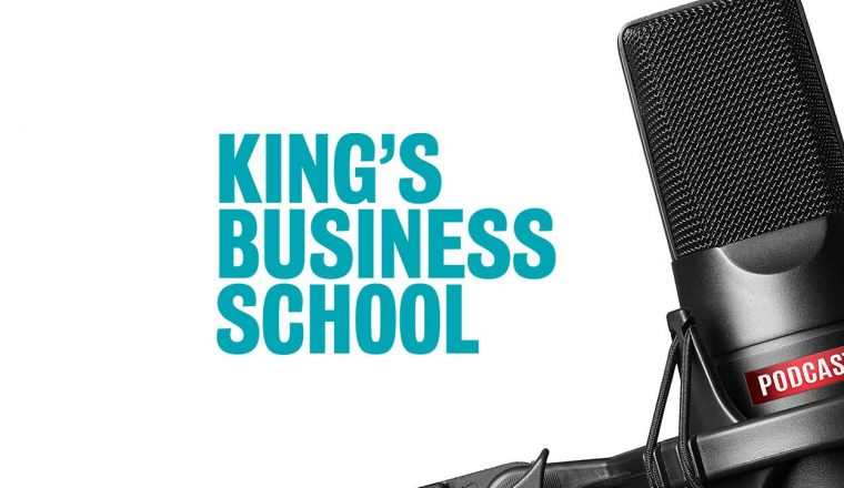 Podcast microphone with King's logo