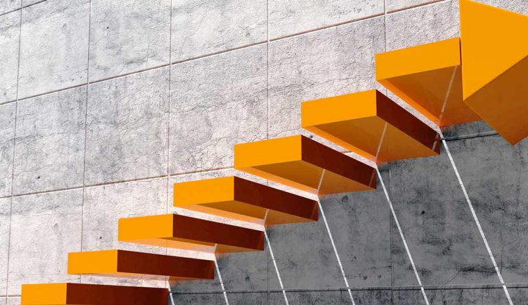 Yellow staircase going up