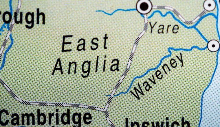 Atlas map of East Anglia
